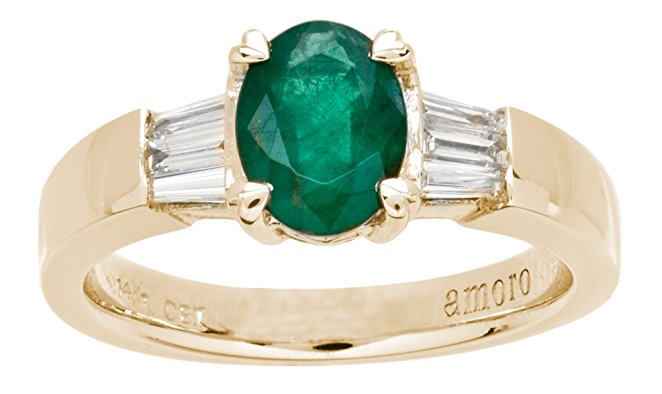 Amoro 18kt Yellow Gold Colombian Emerald and Diamond Ring (0.33 cttw, H Color, VS2 Clarity)