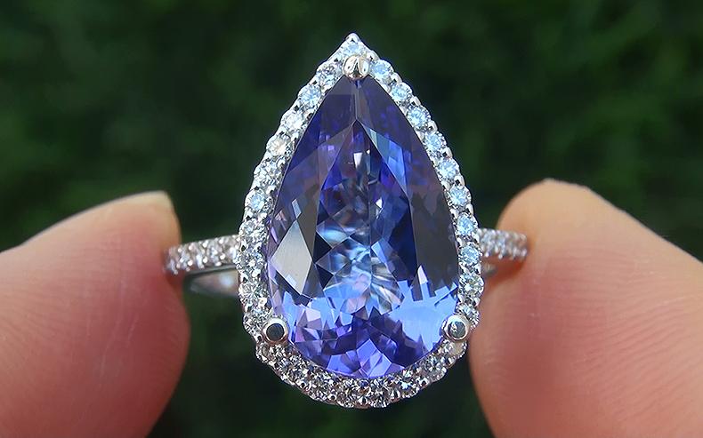 GIA Certified 4.60 ct VVS Natural Tanzanite Diamond 14k White Gold Estate Ring