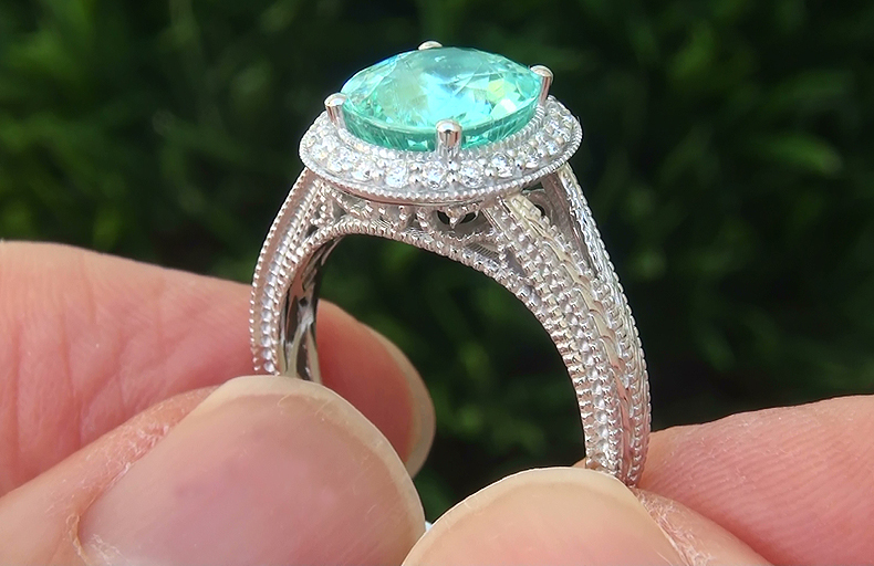 GIA 2.94 ct VVS Natural Paraiba Tourmaline Diamond 14k White Gold Estate Ring