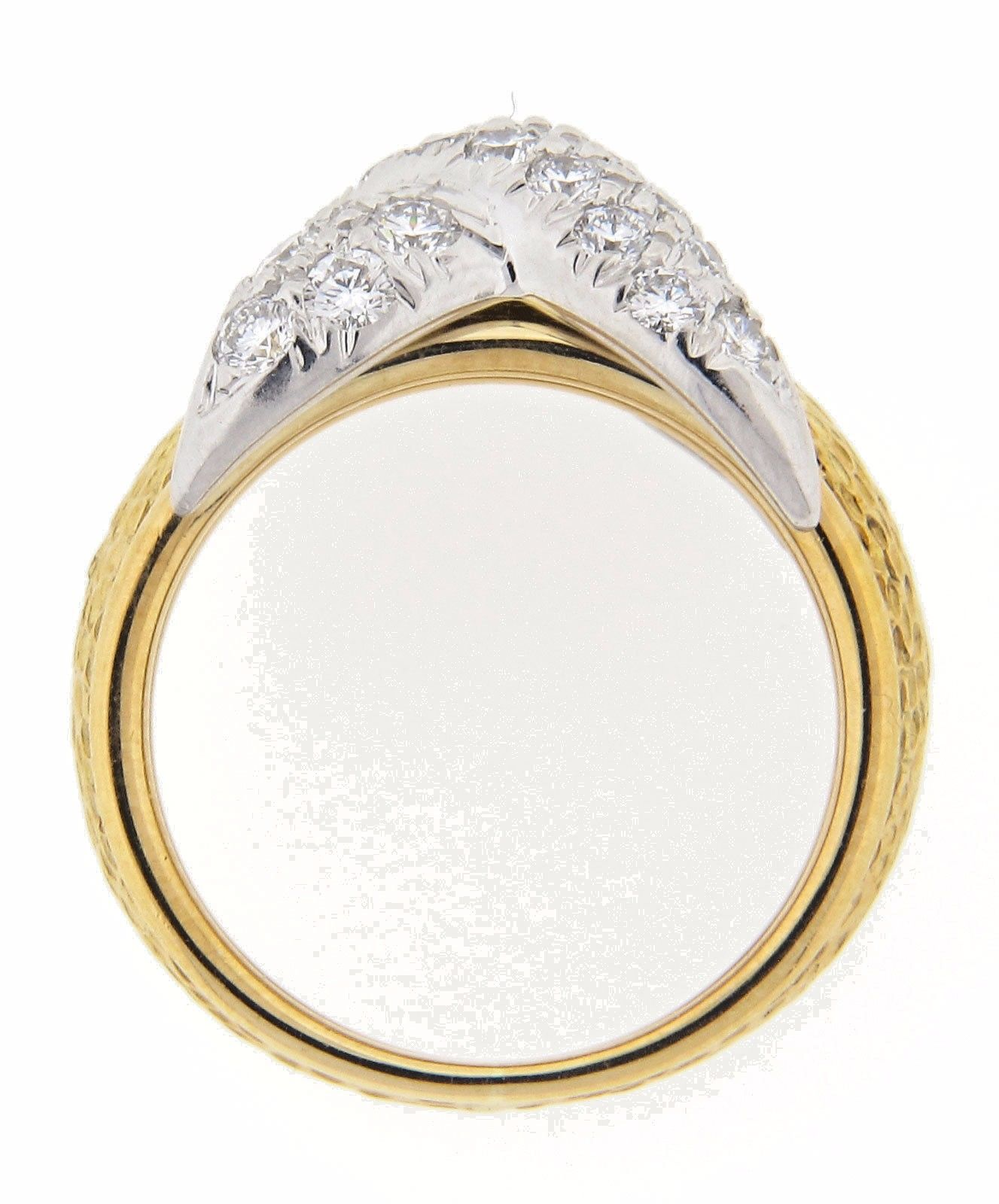 "Tiffany & Co. Schlumberger ""X"" Pave Diamond Ring with Bark Style Shank"