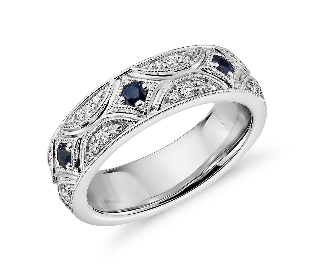 Stelle Sapphire and Diamond Starlit Eternity Ring in 18k White Gold