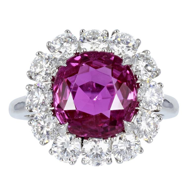 5.16 Carat Ceylon GIA Cert Pink Sapphire Diamond Platinum Cluster Ring