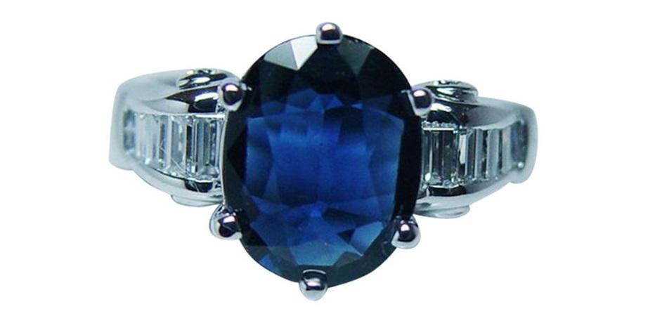 Designer JB STAR 3ct EGL Sapphire Diamond Baguette Ring 18K White Gold Estate