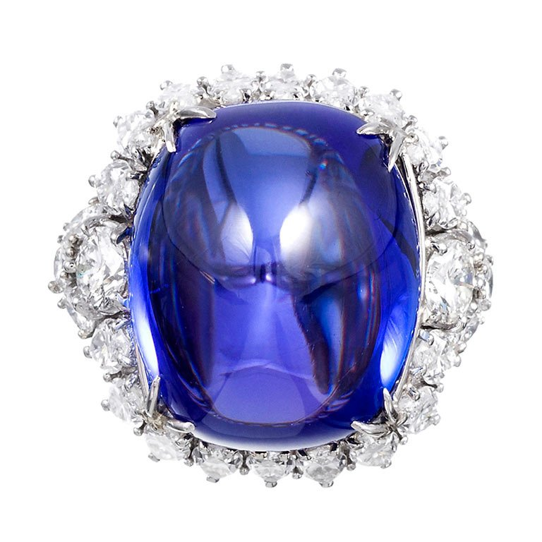 32.18 Carat Sugarloaf Tanzanite Diamond Cocktail Ring