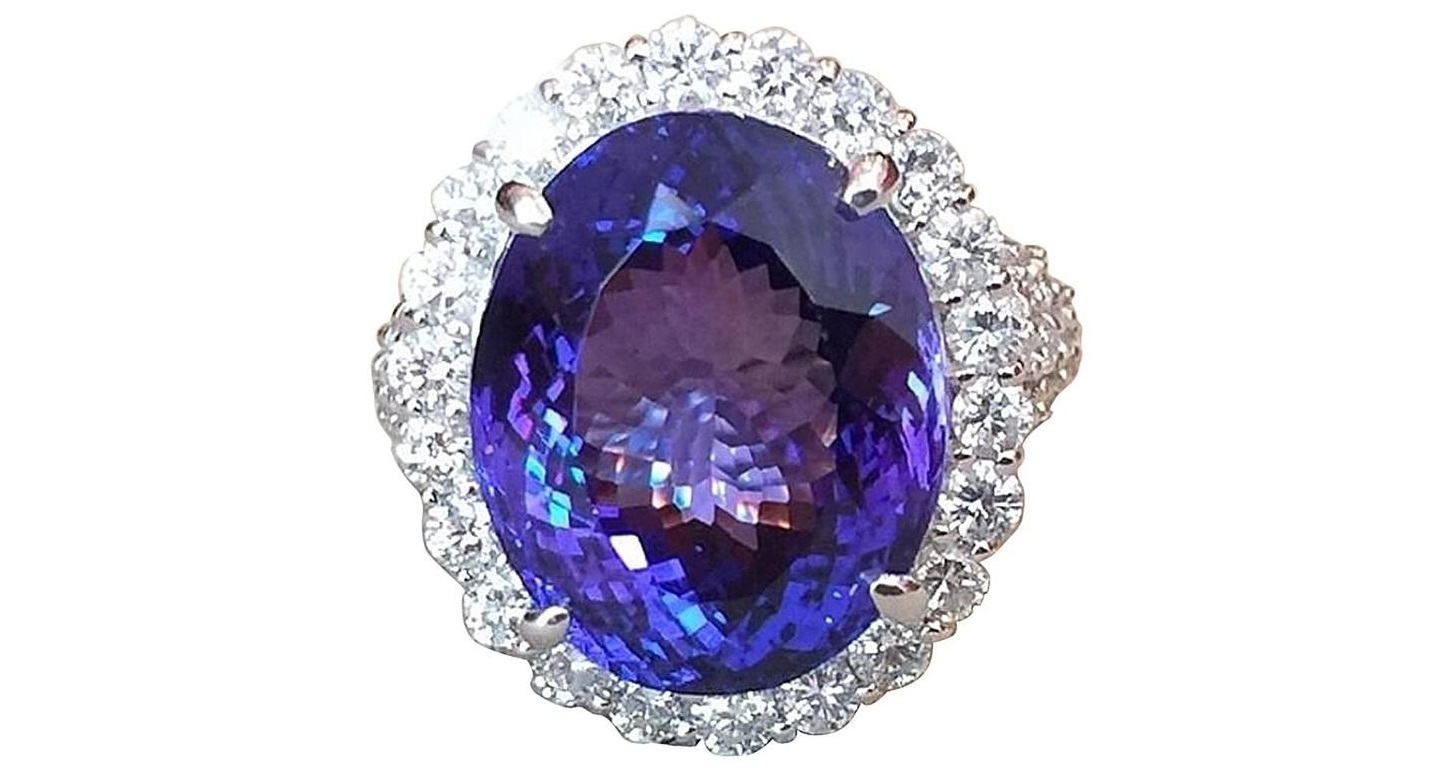 17.12 Carat Oval Tanzanite Diamond Platinum Halo Ring $18,500