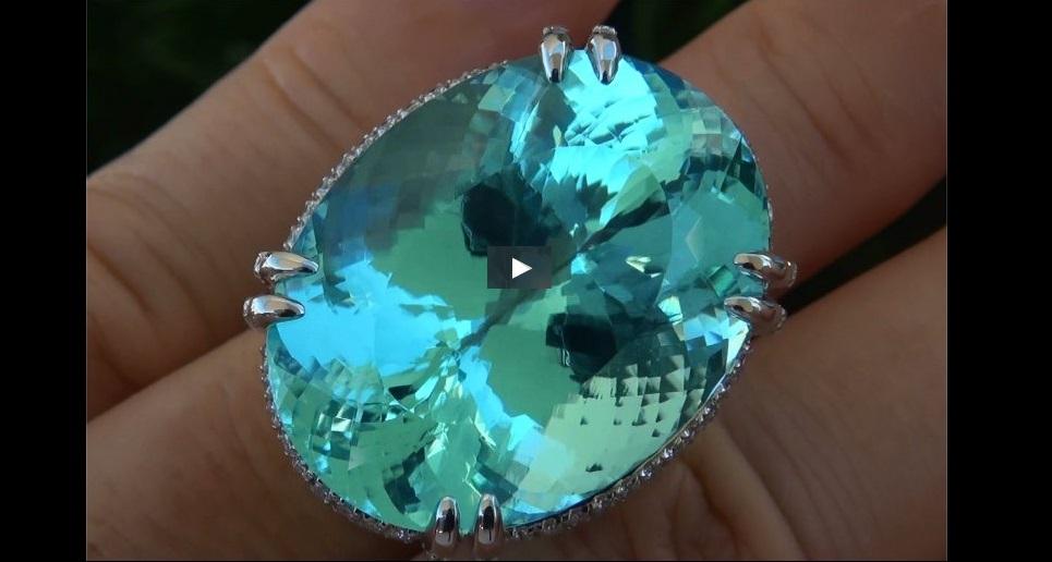 GIA Certified 62.12 ct FLAWLESS Paraiba Tourmaline Diamond PLATINUM Estate Ring