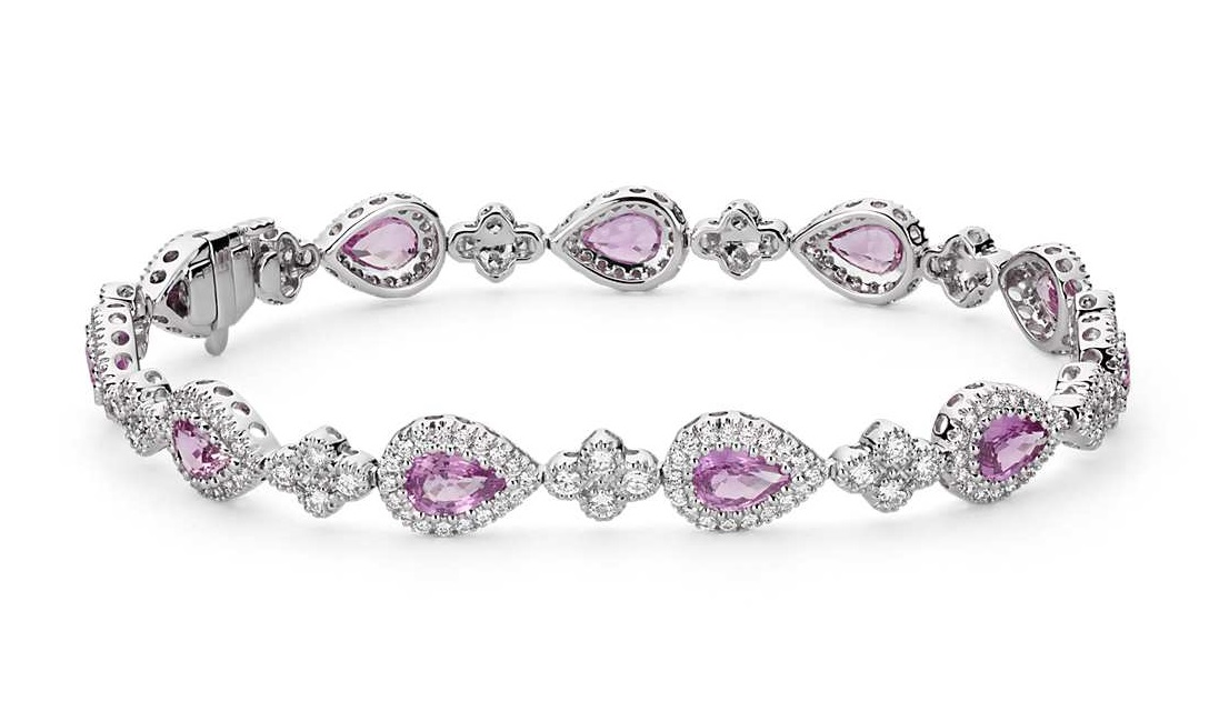 Pink Sapphire and Pavé Diamond Halo Bracelet in 18k White Gold (6x4mm)