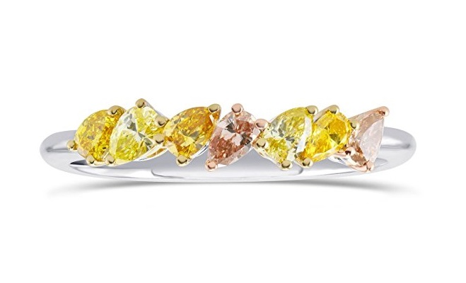 0.49Cts Mix Diamond Band Ring Set in 18K White Yellow Rose Gold