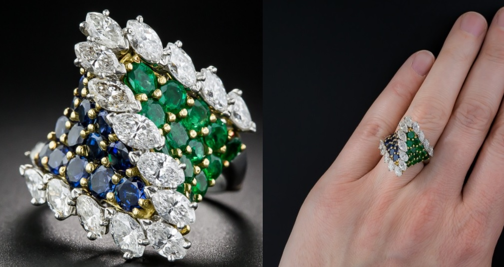 French Emerald, Sapphire and Diamond Cocktail Ring