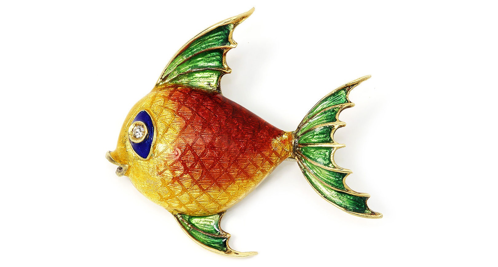 Vintage Fish Brooch Pin with Single Cut Diamond in 18kt Yellow Gold & Multi-Color Enamel