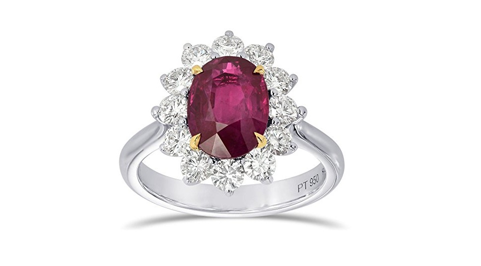 2.9Cts Ruby Gemstone Engagement Ring Set in Platinum White Gold