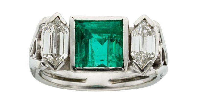 Art Deco Emerald, Diamond, Platinum Ring