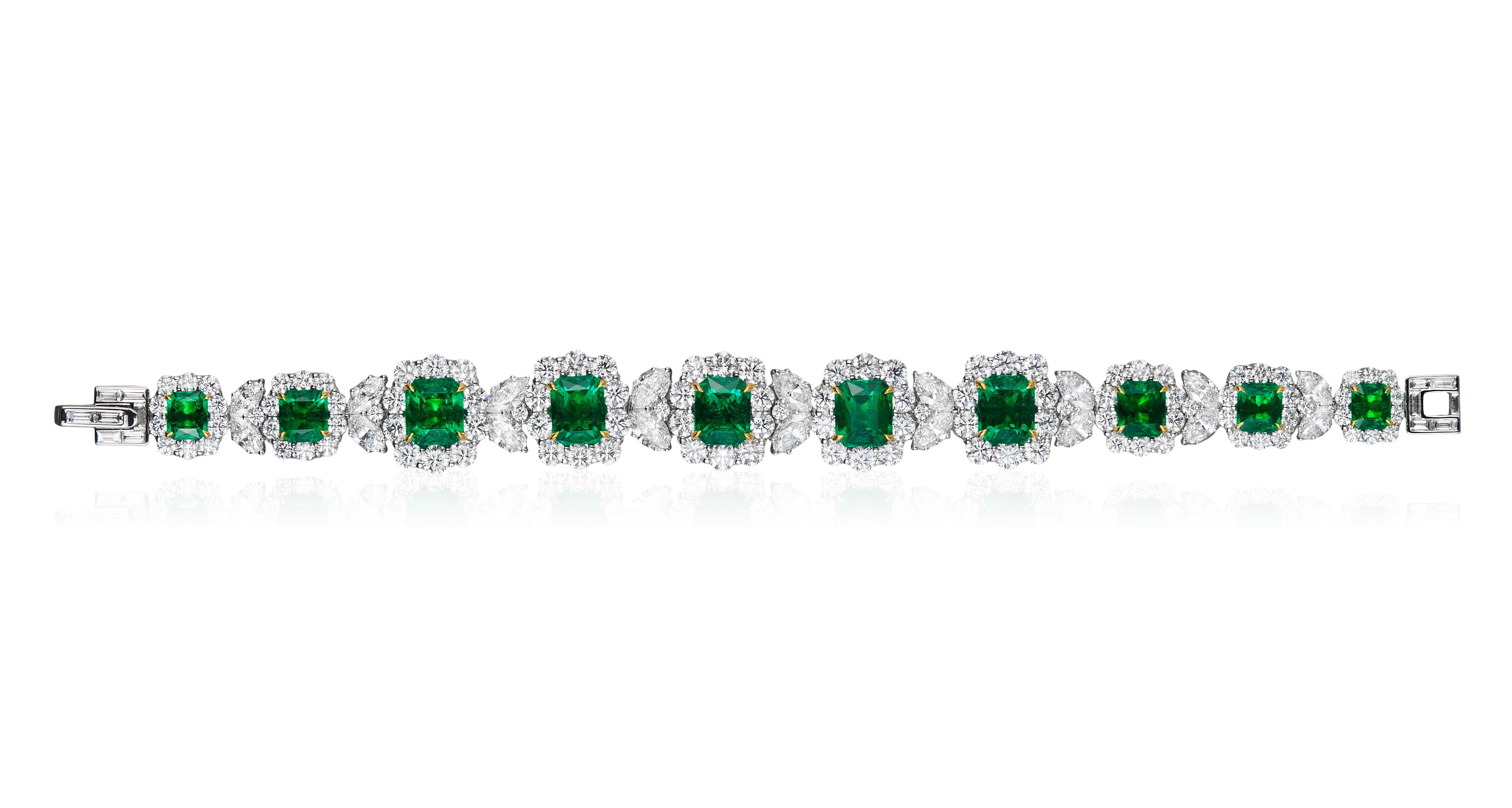 A phenomenal bracelet incorporating the very finest emerald cut emeralds and a series of scintillating diamonds.