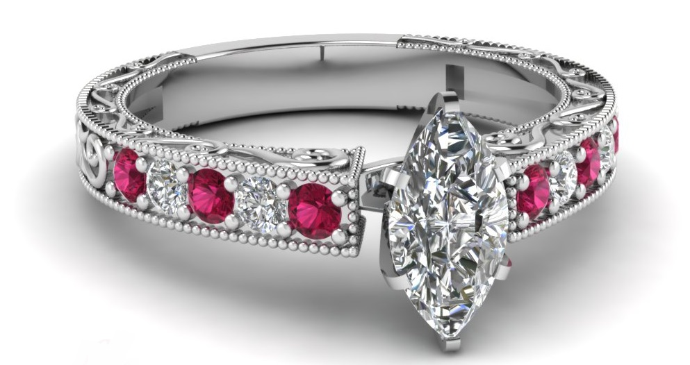 Vintage Engagement Ring 0.80 Ct Marquise Cut SI1-E Color Diamond & Pink Sapphire
