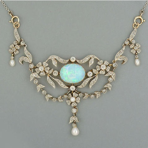 A late Victorian opal and diamond necklace circa 1900