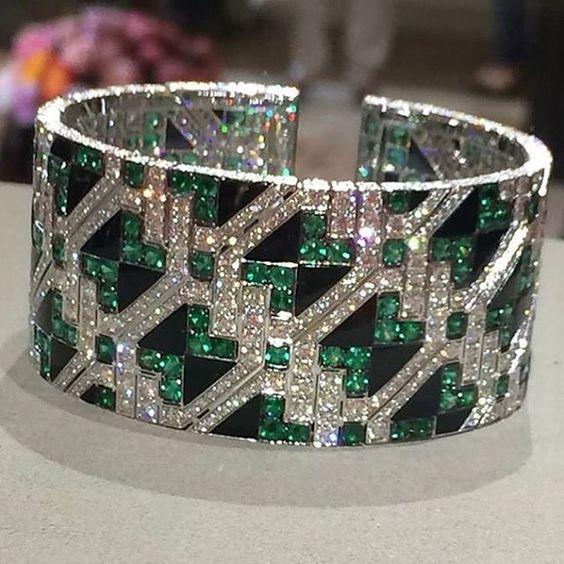 A Spectacular Emerald, Onyx, and Diamond Cuff Bracelet by Giampiero Bodino