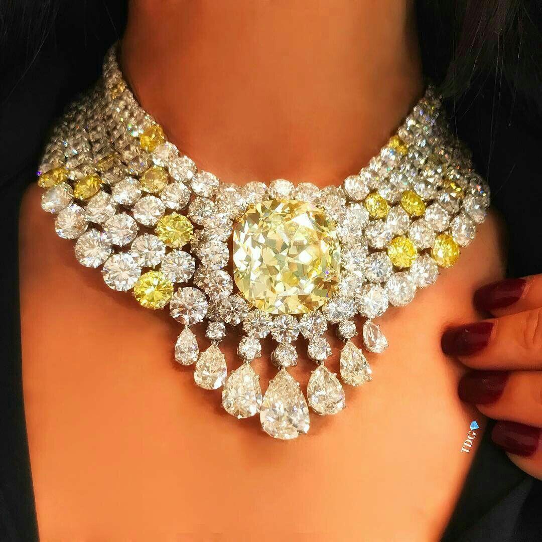 A Gorgeous Yellow Diamond and Diamond Necklace