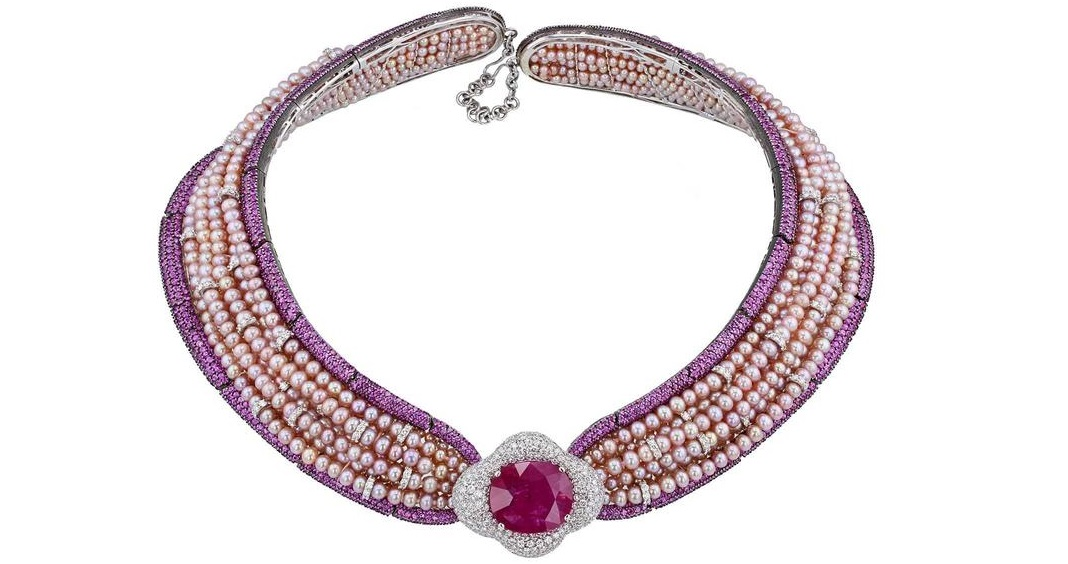 Jahan Important 30 Carat Burma Ruby Pink Sapphire Pearl Diamond Collar Necklace