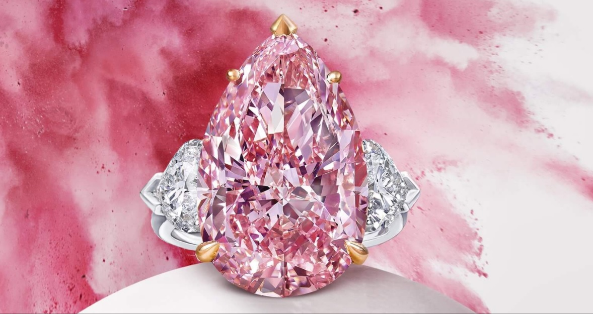 Pear Shape Pink Diamond Ring 12.02 CT FANCY VIVID PINK INTERNALLY FLAWLESS PEAR SHAPE DIAMOND