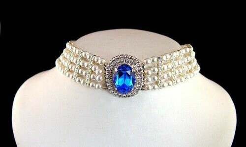 A Gorgeous Sapphire, Pearl and Diamond Choker Necklace