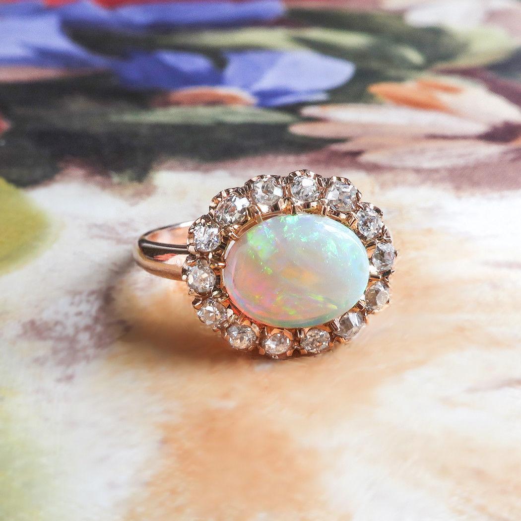 Australian Crystal Opal & Old European Cut Diamond 1.74ct.tw Halo Ring