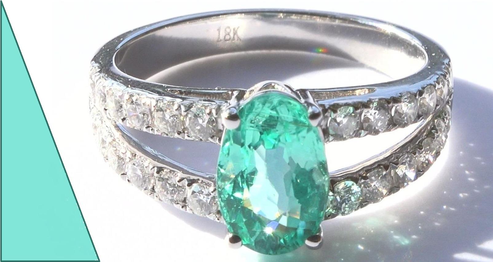 GIA Natural Blue Green Paraiba Tourmaline Diamond 18k White Gold Ring 2.61 TCW