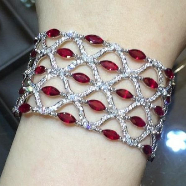 Marquise Ruby and Diamond Bracelet
