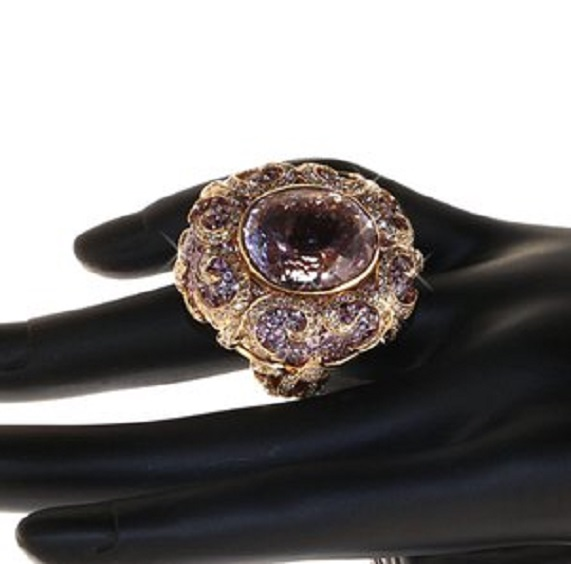 Zorab Creation Monarch 34.05 Carat Kunzite Spodumene Pink Sapphire Diamond Ring $19,800