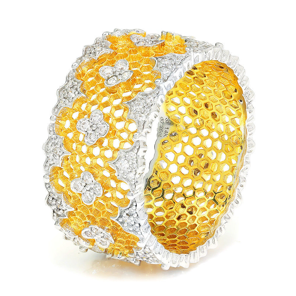 Wide Diamond Cigar Band Honeycomb in 14Kt Two Tone Gold .36ctw