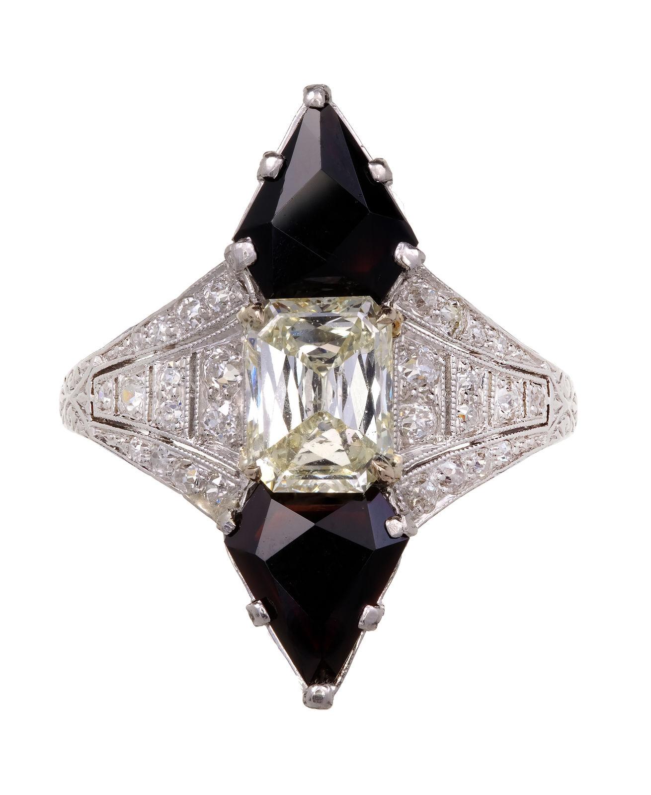 Antique Art Deco 1930 Black Star & Frost Emerald Cut Diamond Onyx Ring Platinum
