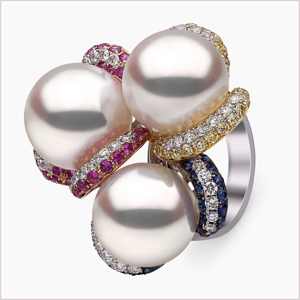 Belgravia South Sea Pearl, Sapphire and Diamond Ring in 18ct White Gold
