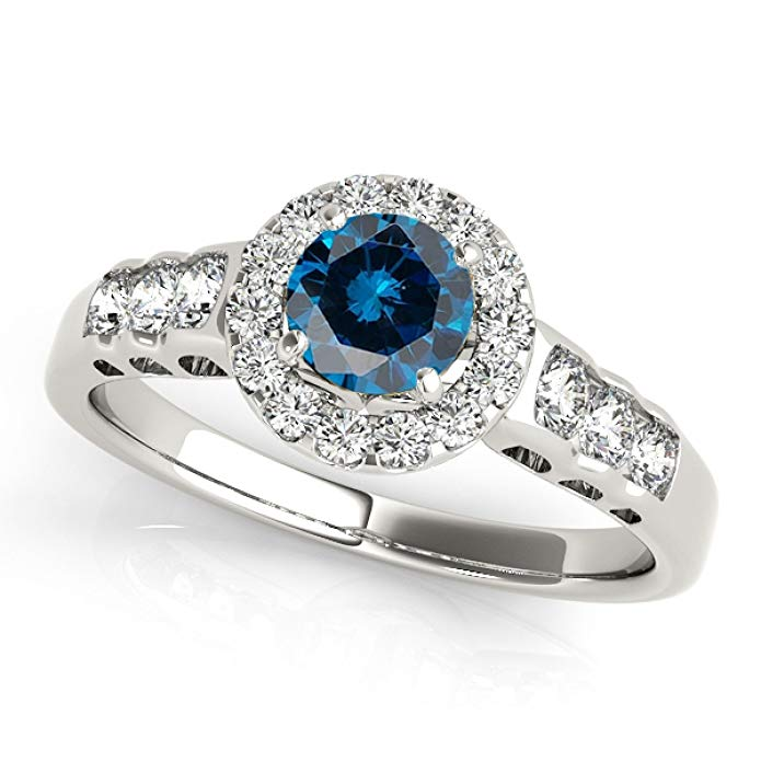 1.45 Ct. Halo Blue Diamond Engagement Ring Crafted In 14k White Gold