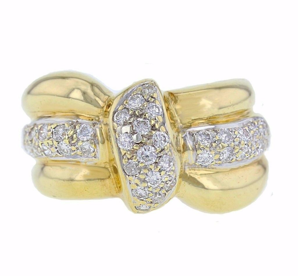 18k Yellow Gold 1.00ctw Round Natural Diamonds Ring