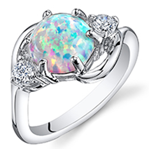 Created White Opal Ring in Sterling Silver, Round Shape, 8mm, 1.75 Carats total, Sizes 5 to 9