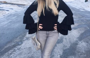 Black Long Sleeve Ruffle Top from Forever 21
