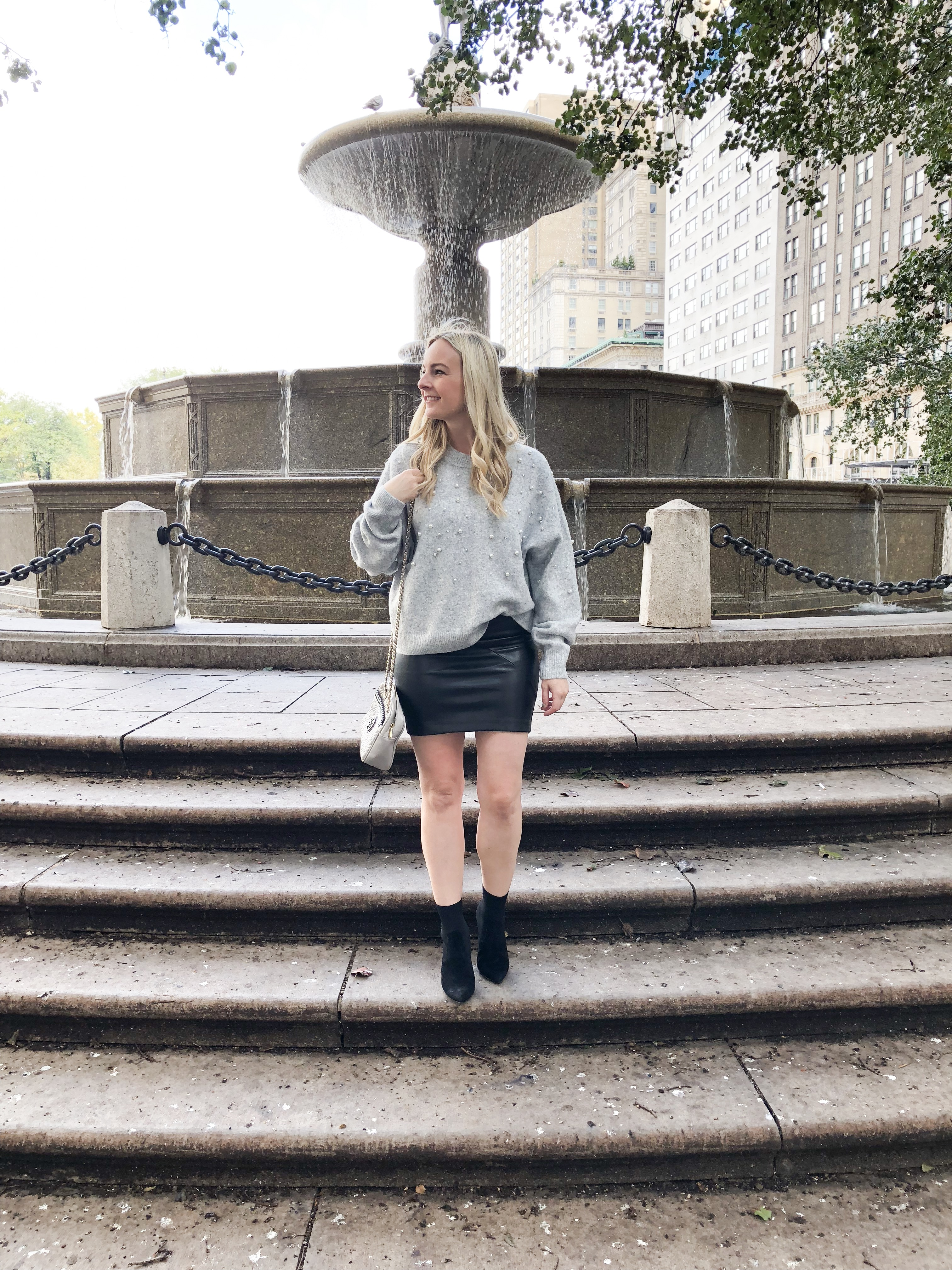 H & M Grey Pearl Sweater on Livin' Life with Style