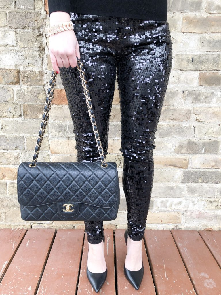 Sequin Pants from Express; New Years Eve Look on Livin Life with Style; Chanel Bag