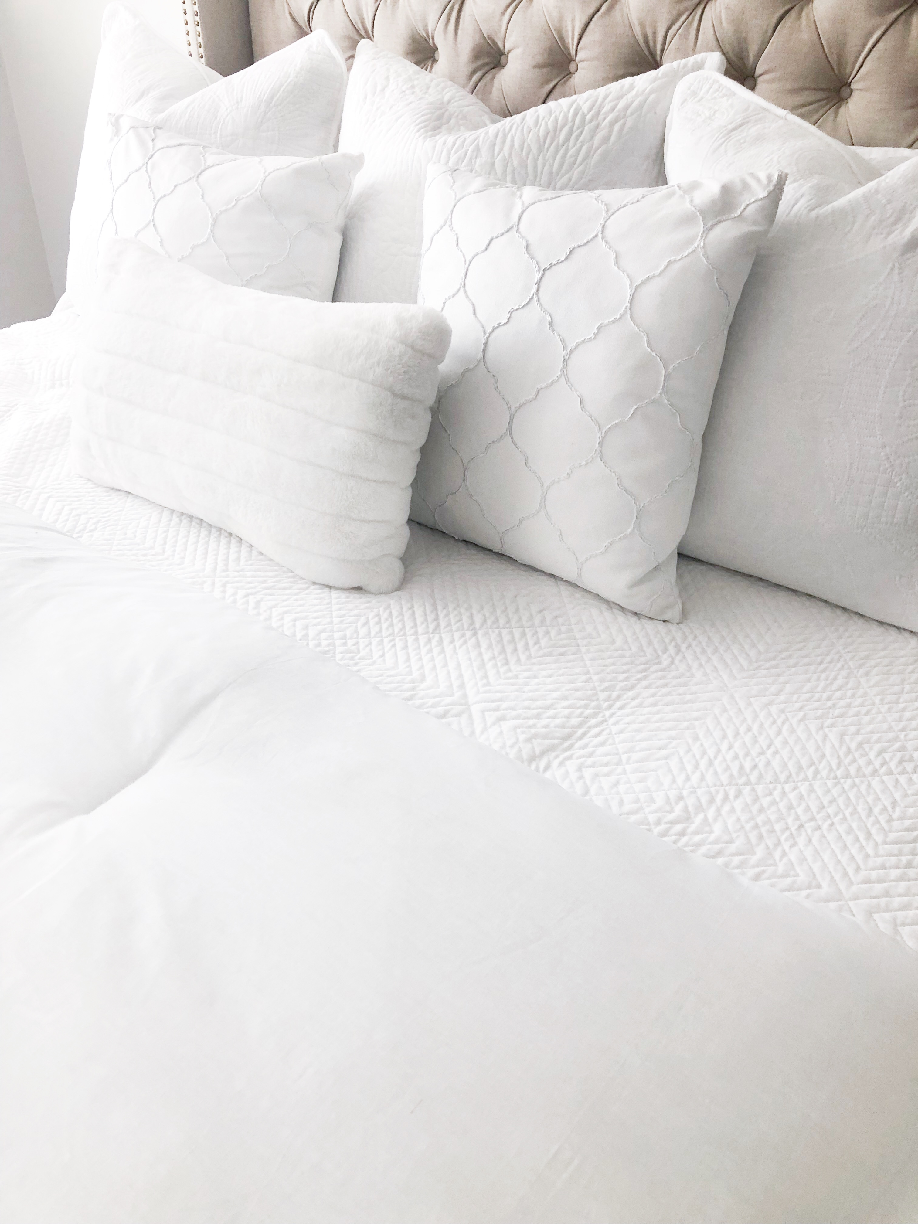 White Bedding- HomeSense; Livin Life with Style