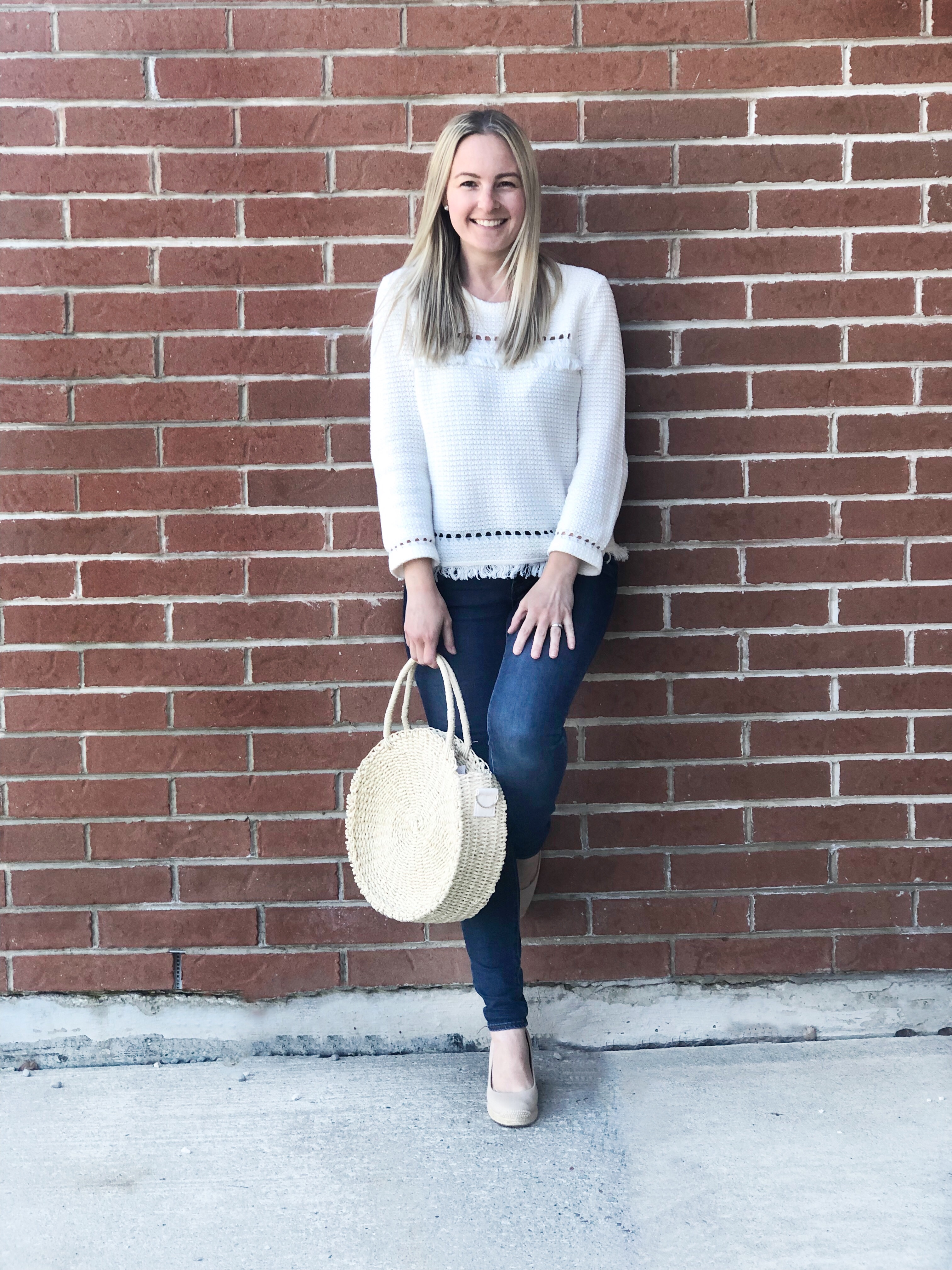J Crew fringe sweater- Summer look on livin' life with style