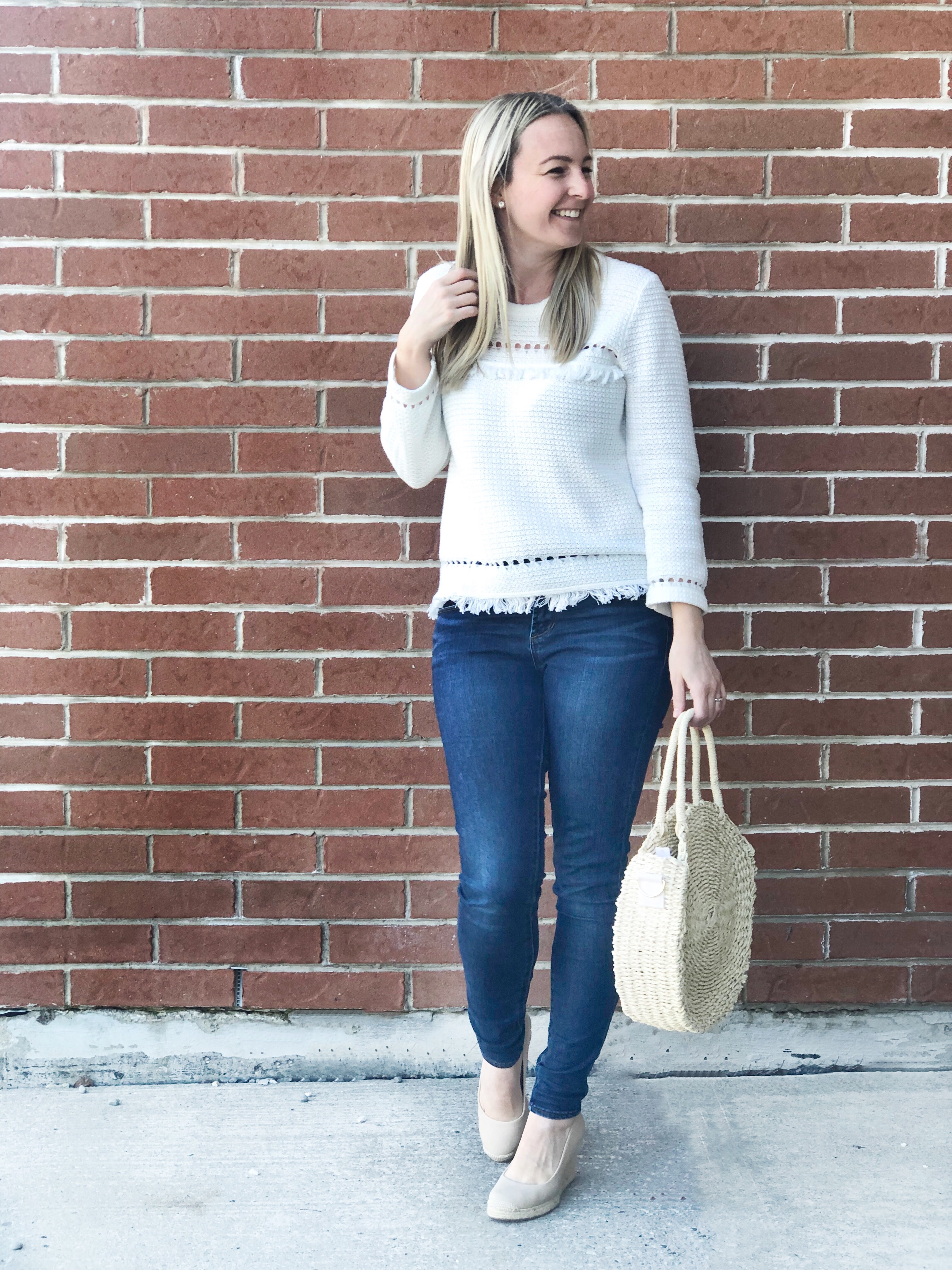J Crew White sweater- Spring look on livin' life with style