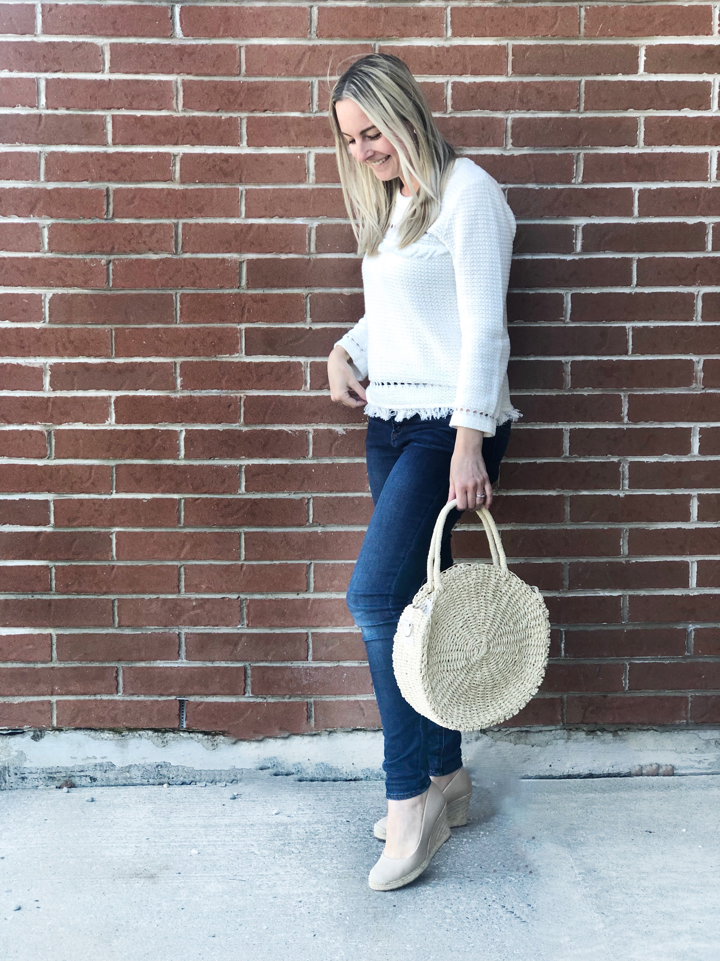 J Crew fringe sweater- Spring look on livin' life with style