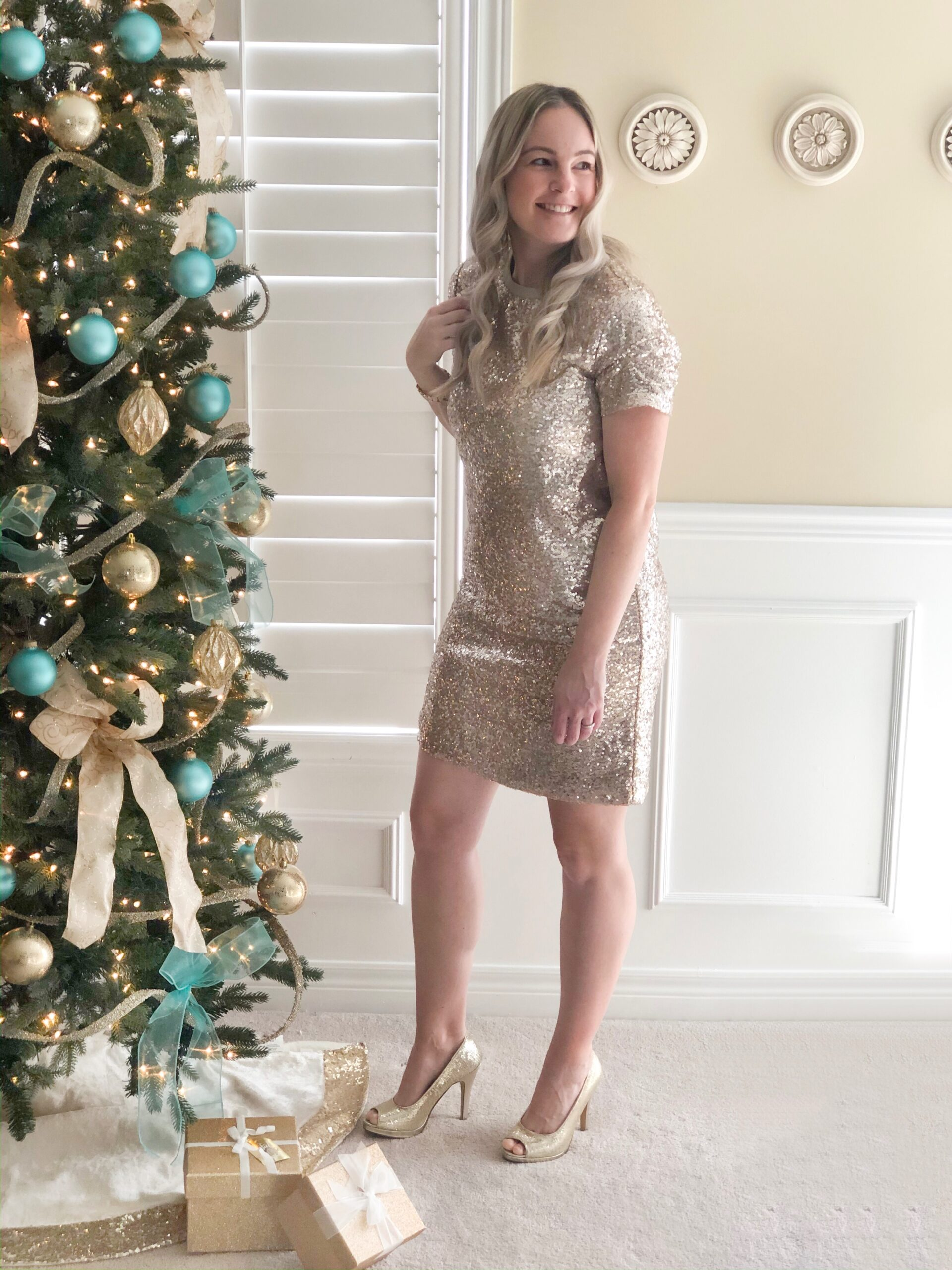 Gold Sequin Dress from Joe Fresh on Livin' Life with Style