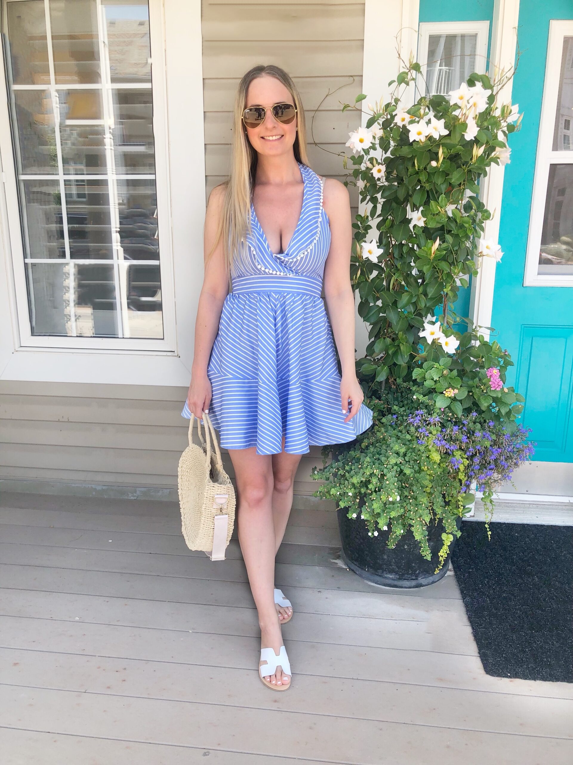 Shein Blue and white ruffle dress on livin' life with style