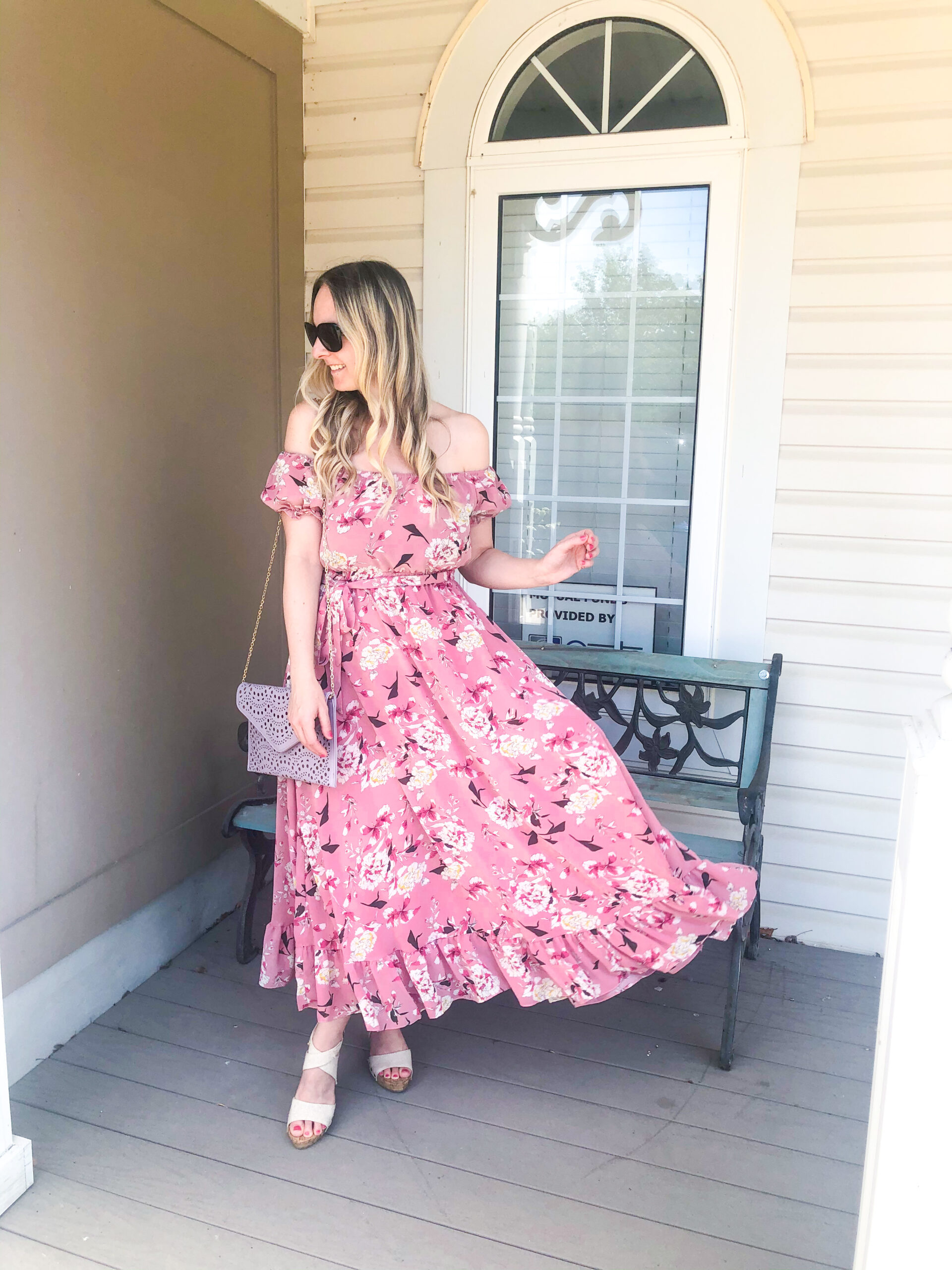 Shein pink floral off the shoulder dress on Livin' Life with Style