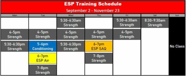 ESP Schedule Fall 2019