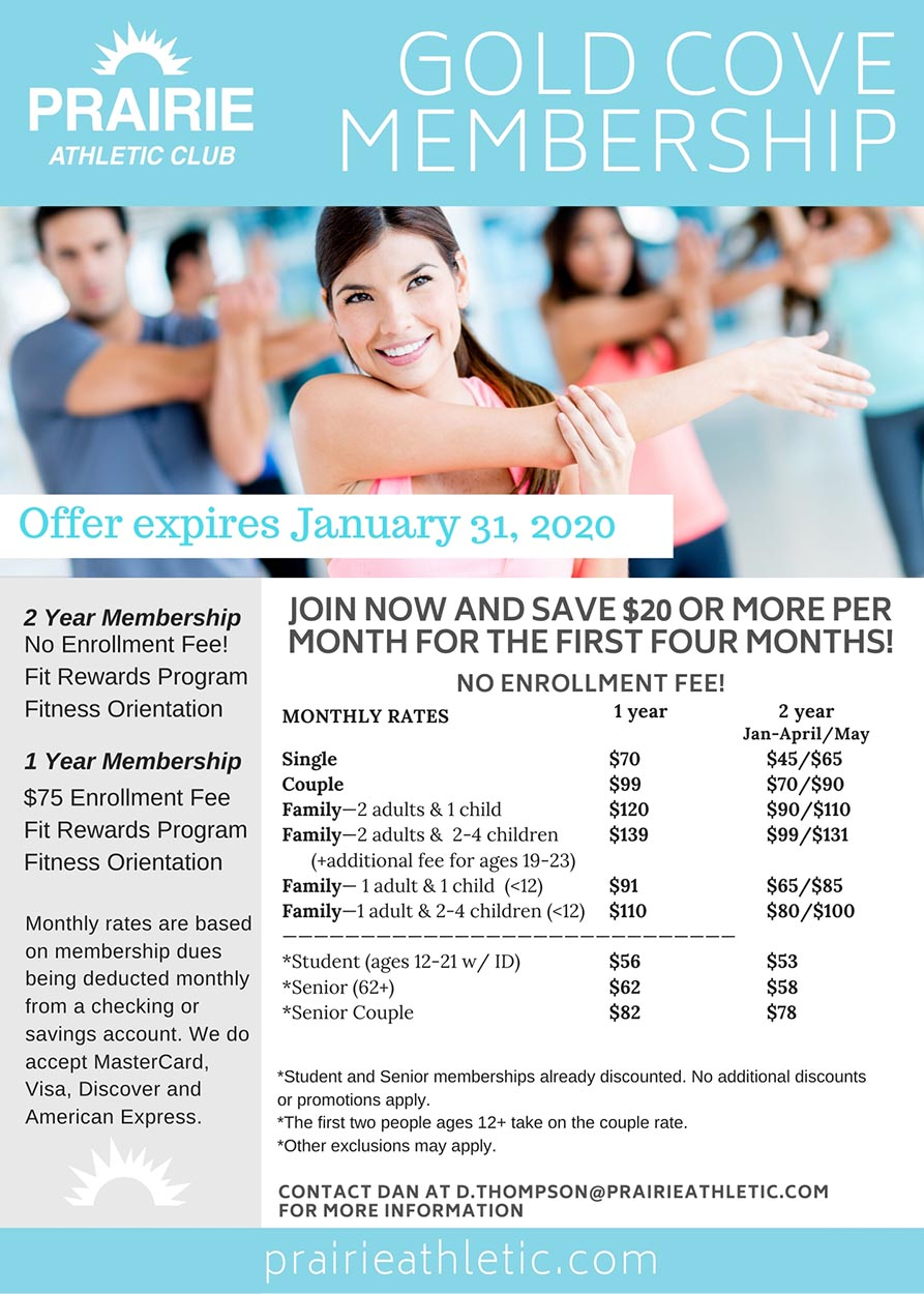 January 2020 Prairie Athletic Club Membership Promotion