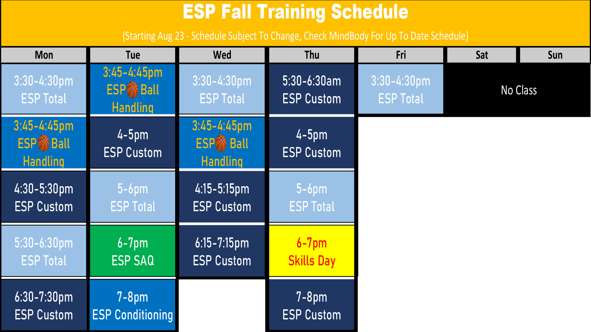 Elite Sports Performance Fall of 2021 Athlete Workout Schedule