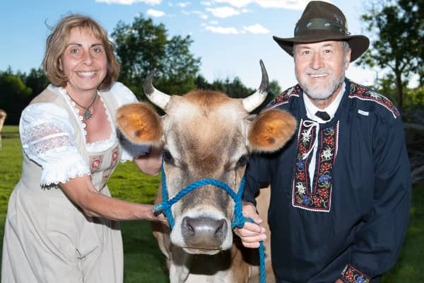 Robert and Petra with Cow at Alpenblick Grass-fed Beef, Goat and Lamb Farm Ottawa