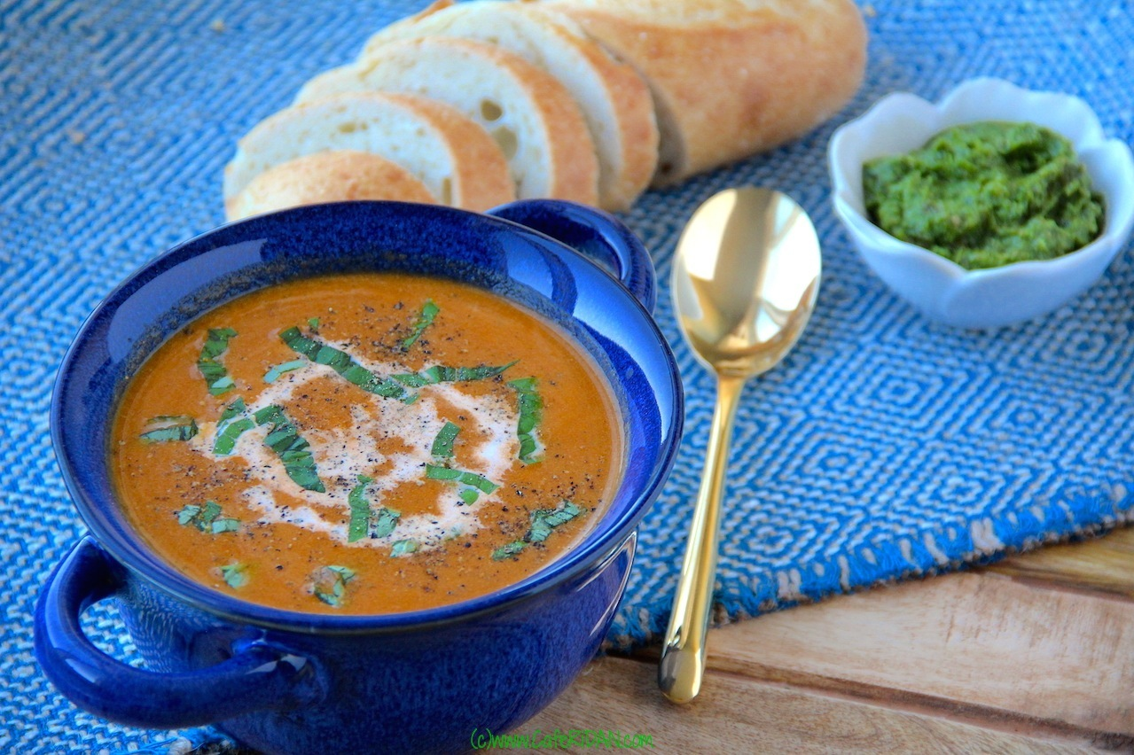 Cream of Fresh Tomato Soup with Basil