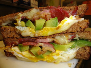 bacon egg avocado melt